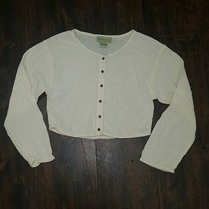 vtg 90s ANTHROPOLOGIE gauzy button down crop top S